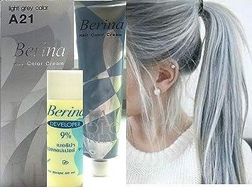 Hair Colour Permanent Hair Cream Dye Light Ash Grey by Berina ...