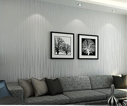 HANMERO Non-woven Classic Plain Stripe Modern Fashion Wallpaper Wall Paper  Rolls for Living Bedroom Silver Gray Color 0.53m (20.86 Inch) x 10m ...