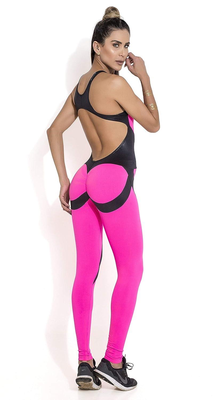 89b7048baa08 Amazon.com  Canoan Brazilian Workout Jumpsuit - Scrunch Booty Girl Power  Pink  Clothing