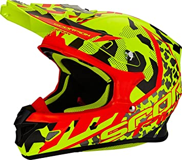 Scorpion Casco Moto VX-21 Air, Furio Neon Yellow/Black/Red,