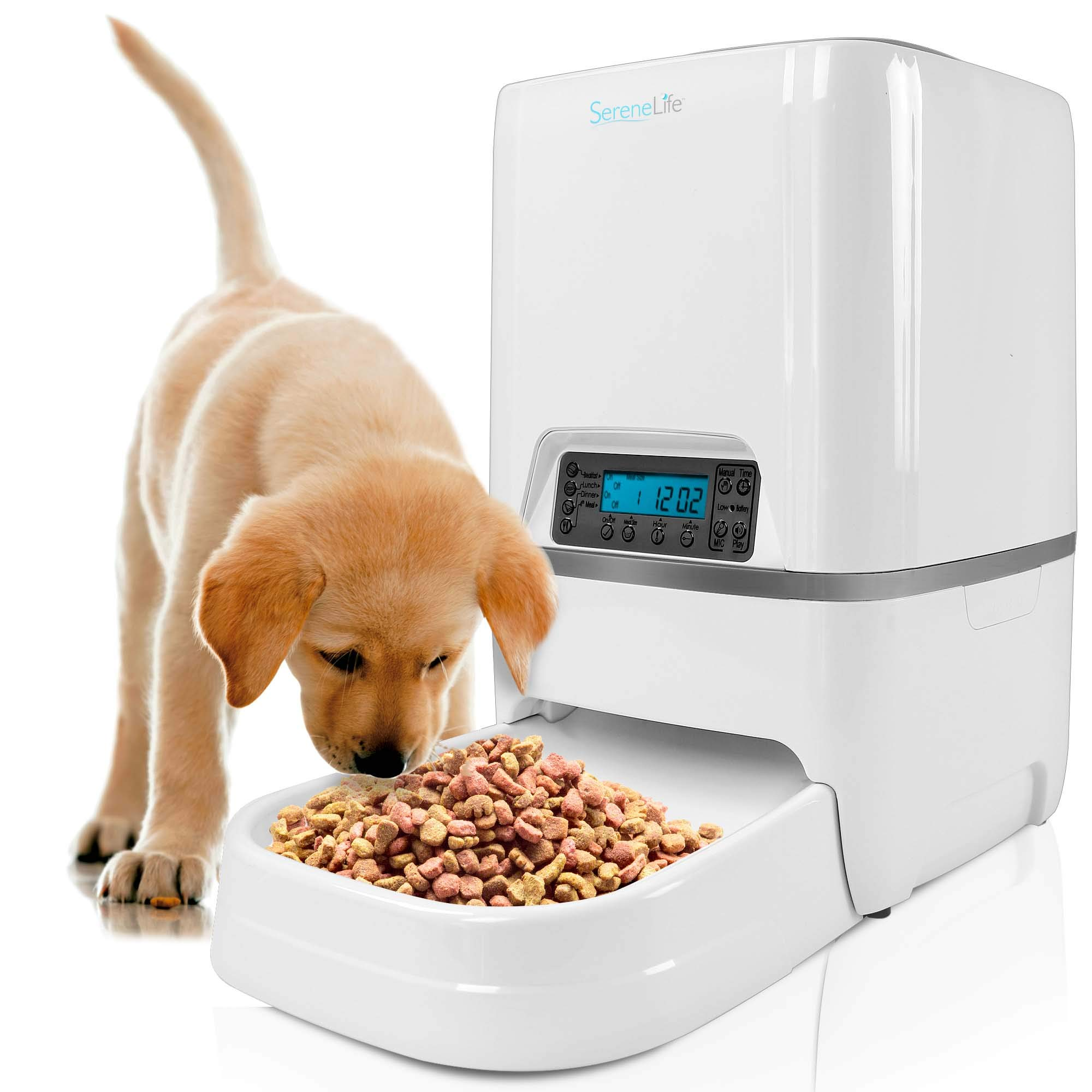 SereneLife Automatic Pet Feeder - Electronic Digital Dry Food Storage Meal Dispenser with Built-in Microphone, Voice Recorder, and Timer Programmable to Feed Cat and Dog and Small Animals SLAPF18 by SereneLife