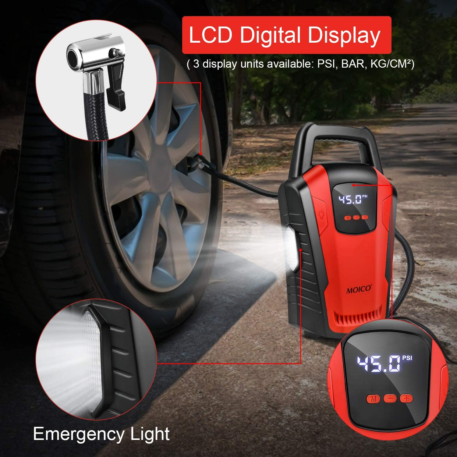 150 PSI for Cars Trucks Bicycles Bright Emergency Flashlight Portable Inflatable Pump CZK 3650 - 12V DC Car Tire Pump with Digital Pressure Gauge