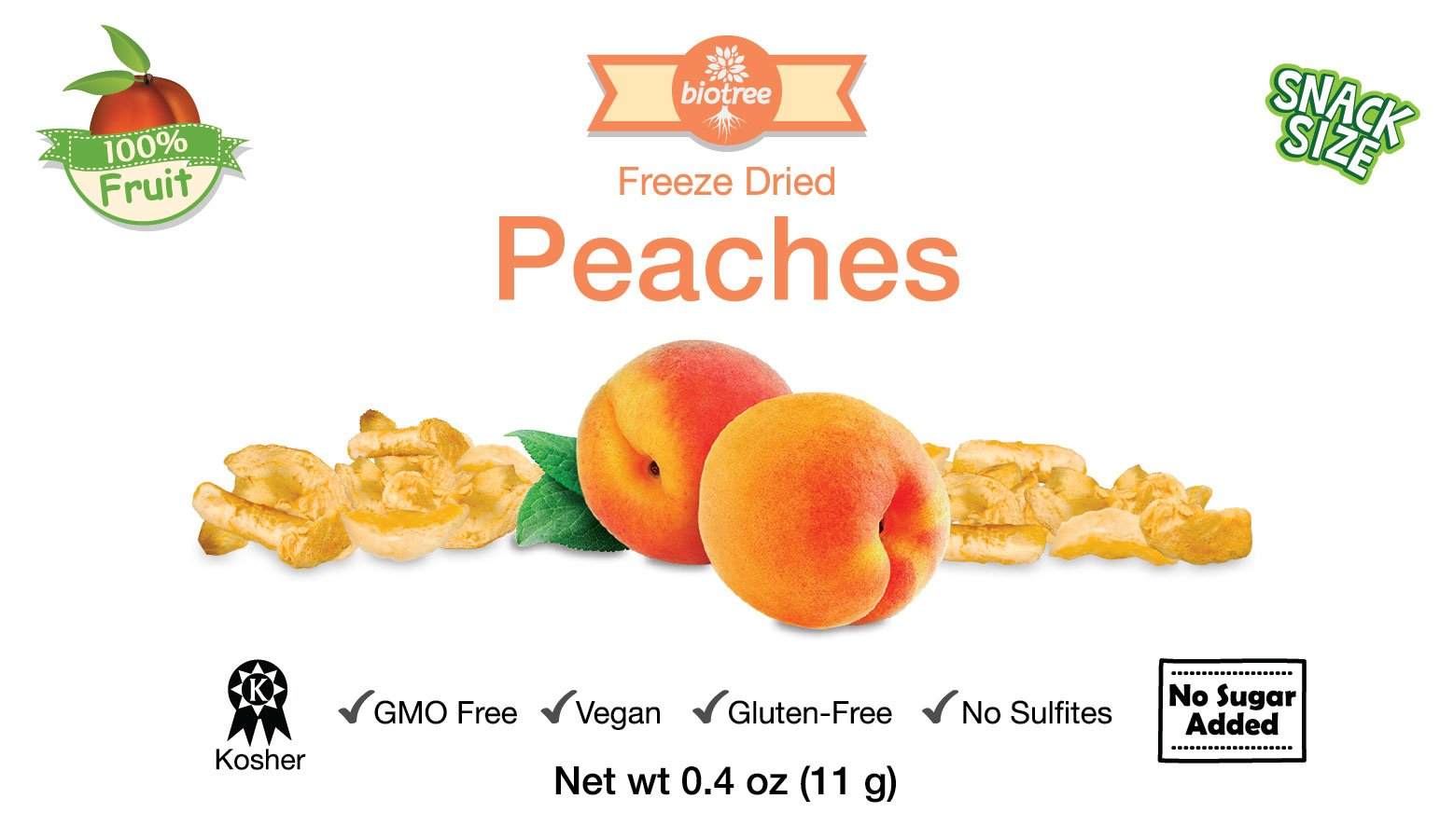 6 Pack of Snack Size Delicious Peaches - All Natural 100% Freeze Dried Peaches: No Added Sugar or Preservatives, Paleo, Gluten-Free. Healthy Snack for Children & Adults (0.4 Oz)