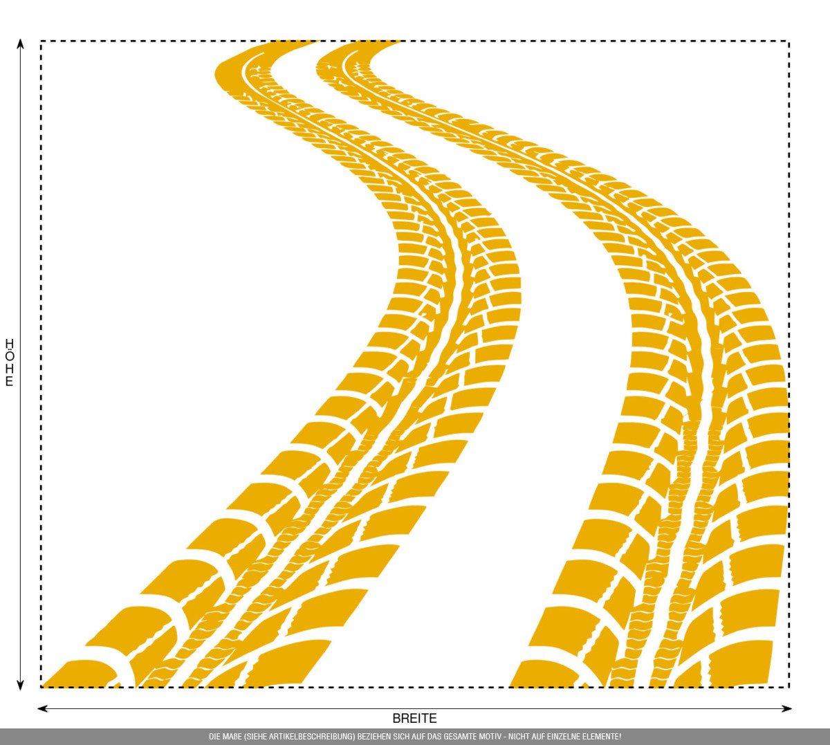 CLICKANDPRINT Aufkleber » » » Reifen-Spuren, 120x103,7cm, Schwarz • Wandtattoo   Wandaufkleber   Wandsticker   Wanddeko   Vinyl B01N7LQW6J Wandtattoos & Wandbilder 0c1b07