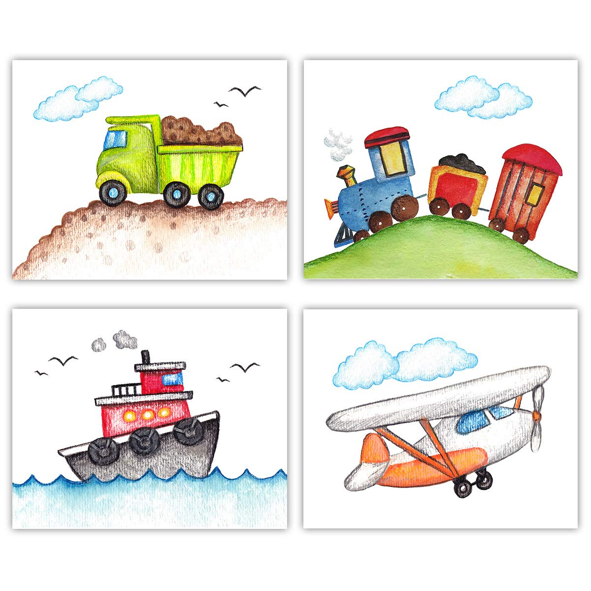 Vintage Airplane, Tug Boat, Dump Truck and Train Wall Art - Set of 4-8x10 UNFRAMED Watercolor Children's Decor Prints - Perfect for Baby's Nursery, Toddler or Little Boy Bedroom, Playroom.