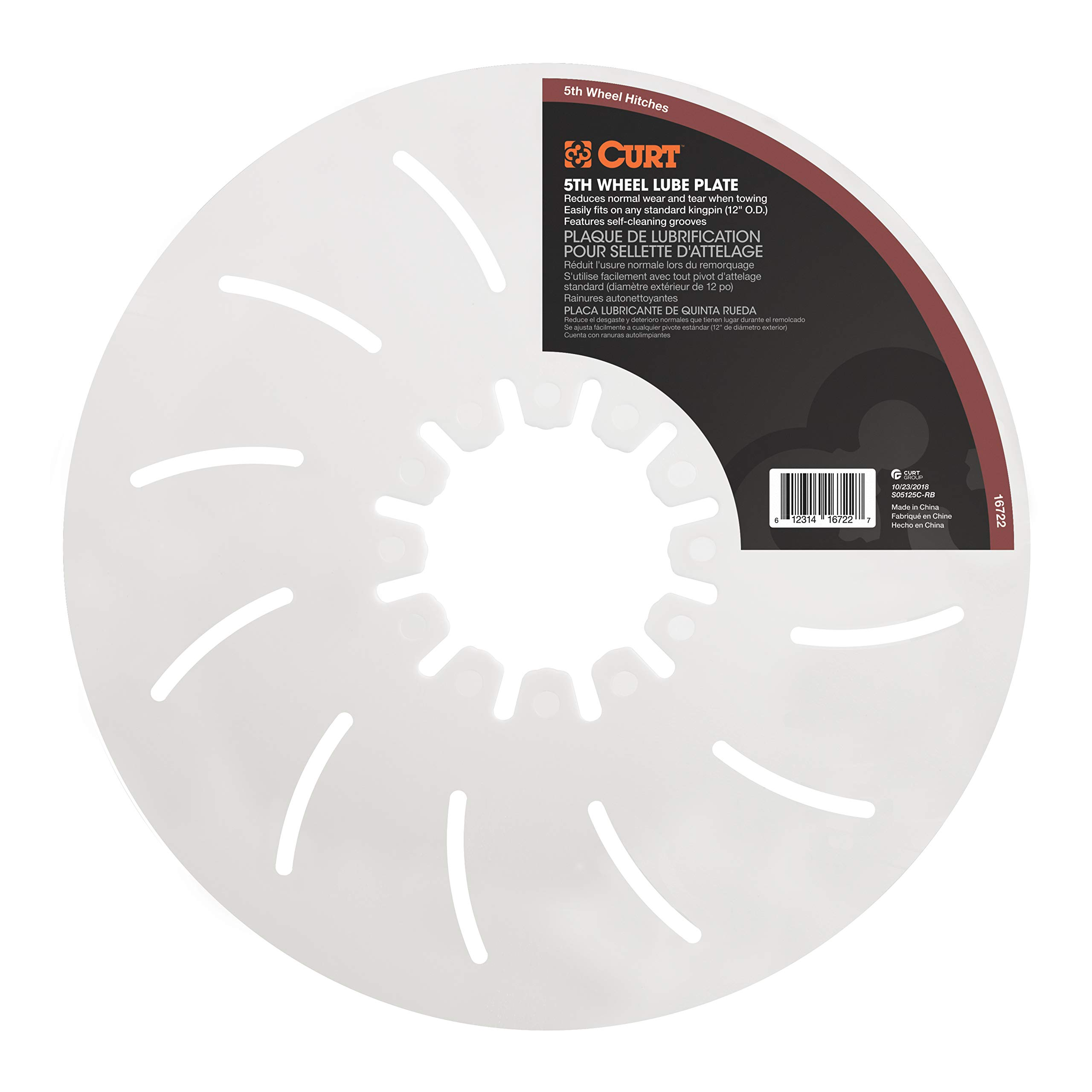 CURT 16722 White 5th Wheel Hitch Lube Plate, 12-Inch Diameter by CURT