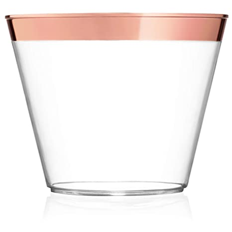 170f9016a2f 9 oz Rose Gold Plastic Cups – Pack Of 100 Clear Party Tumblers With Elegant  Rose Gold Rim – Reusable & Disposable Party Supplies For Wedding, ...