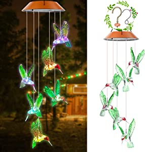 Elihome Solar Wind Chimes Outdoor Hummingbird Windchimes Changing Colors Led Crystal Clearance IP66 Waterproof Hanging Patio Light, Porch, Deck, Yard, Garden Decor (Green Hummingbird)