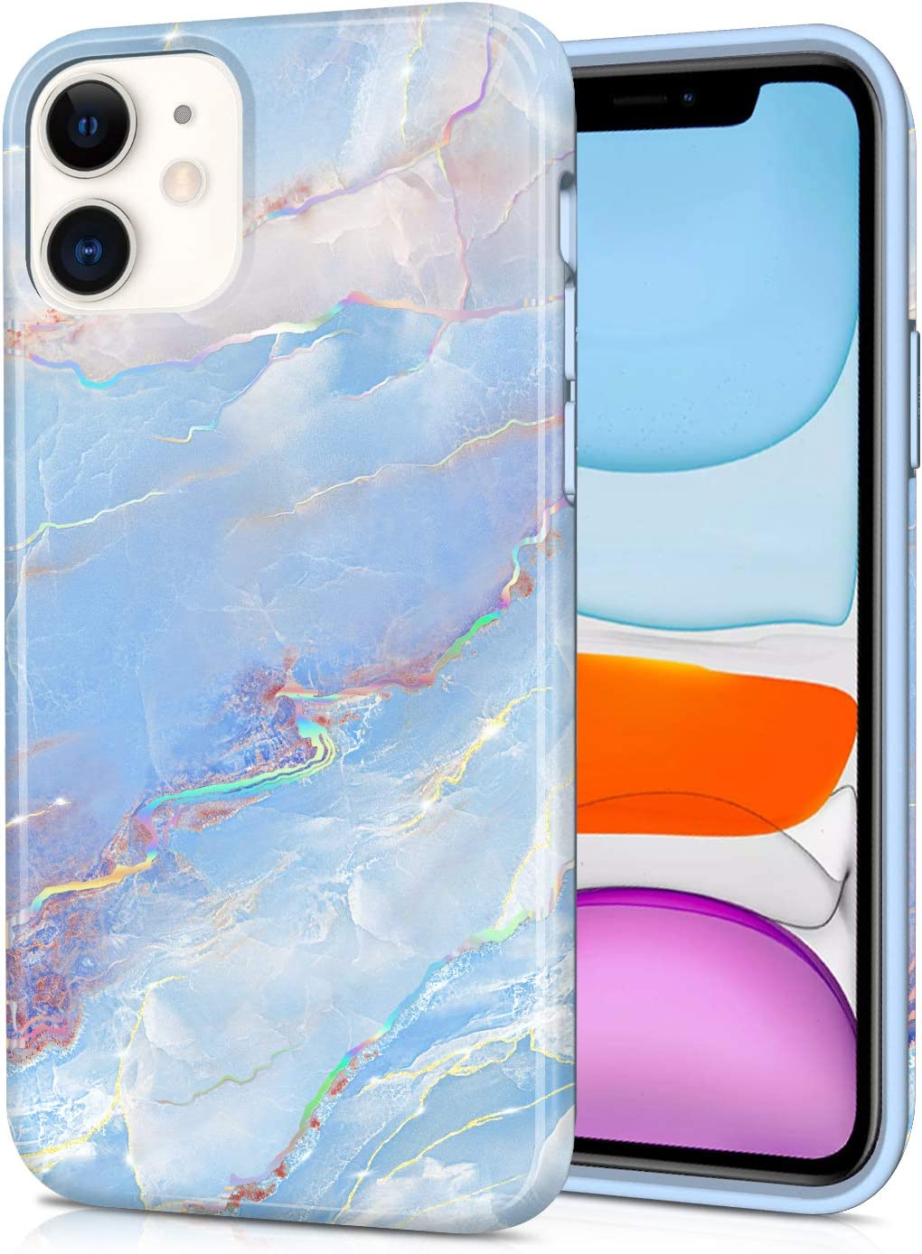 CAOUME iPhone 11 Case Blue Marble Design Sparkly Glitter Protective Stylish Slim Thin Cute Holographic Cases for Apple Phone 11 (2019 Release), Soft TPU Silicone Bumper Defender Camera Screen