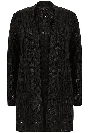 c11d8c931295 YoursClothing Plus Size Womens Longline Chunky Knit Cardigan With Pockets  Size 30-32 Black  Amazon.co.uk  Clothing