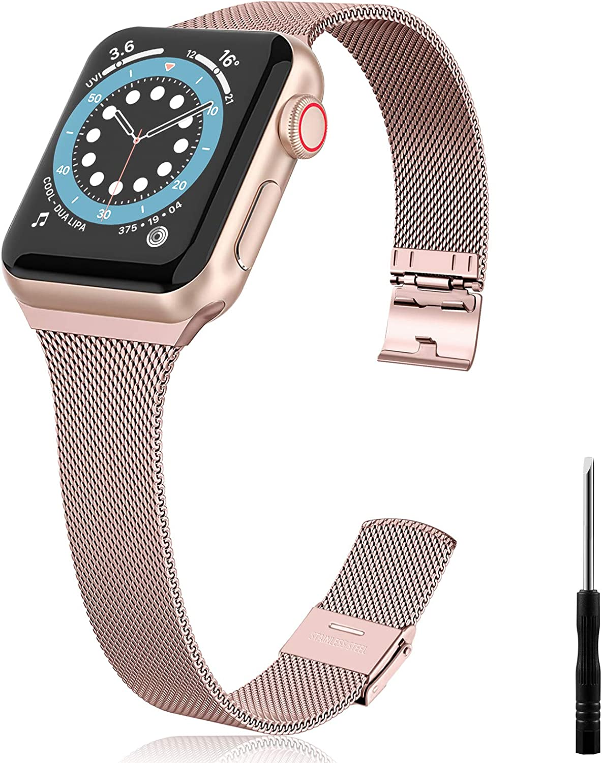 Vcegari Metal Band Compatible with Apple Watch 38mm 40mm Women Men, Slim Narrow Stainless Steel Replacement Wristband Ajustable Strap for iWatch SE & Series 6 5 4 3 2 1, Rose Gold