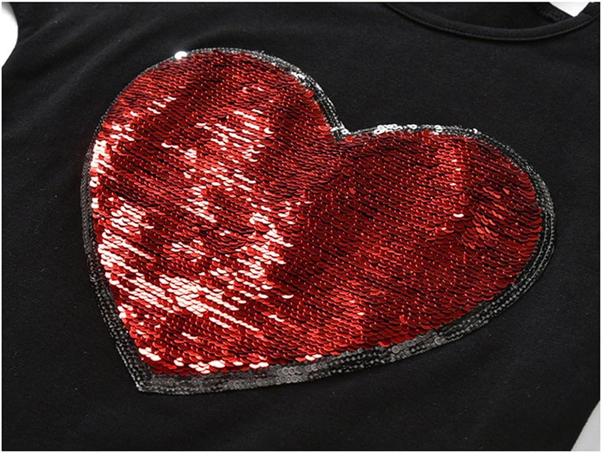 Beide Summer T-Shirts for Girls Cotton Magic Heart Sequin Print Tees