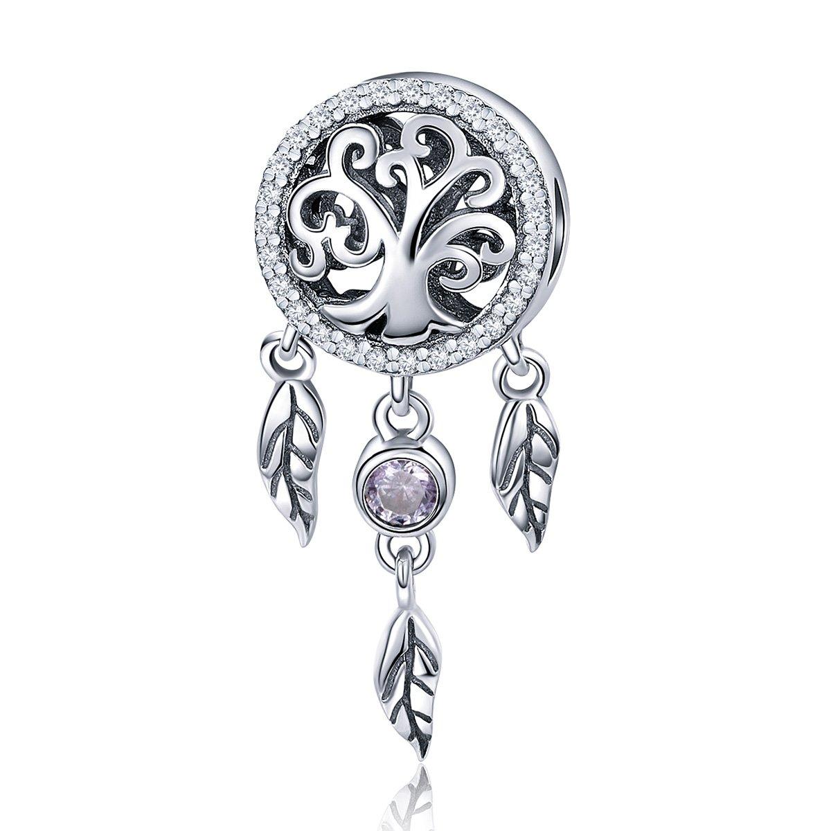 BAMOER 925 Sterling Silver Beautiful Drop Net Charms Pendants Women Teen Girls Bracelet Necklace Gift