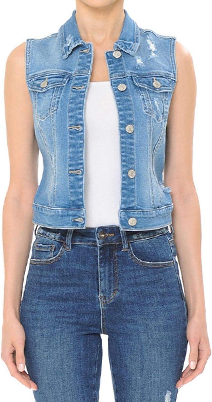 FashionMille Women Button Up Sleeveless Distressed Jean Denim Vest Jacket