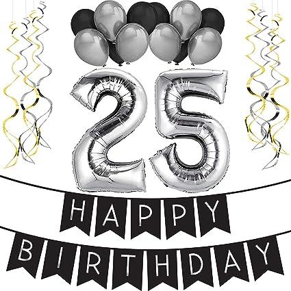 Paquete Para Fiesta De Cumpleanos Numero 25 Happy Birthday