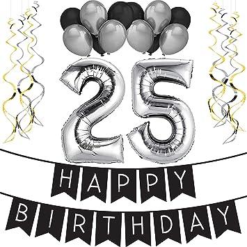 Sterling James Co 25 Geburtstag Party Set Schwarz Silber Happy