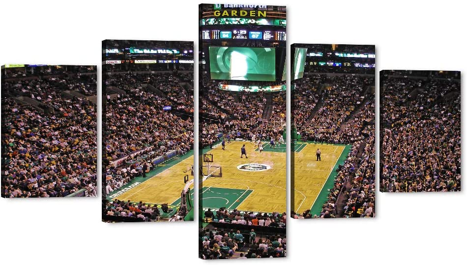 NBA TD Garden Stadium Painting-Boston Celtics Wall Pictures 5 Pieces Canvas Art Basketball Prints and Posters Home Decor for Living Room Giclee Artwork Gallery-wrapped with Wooden Framed (70''Wx40''H)