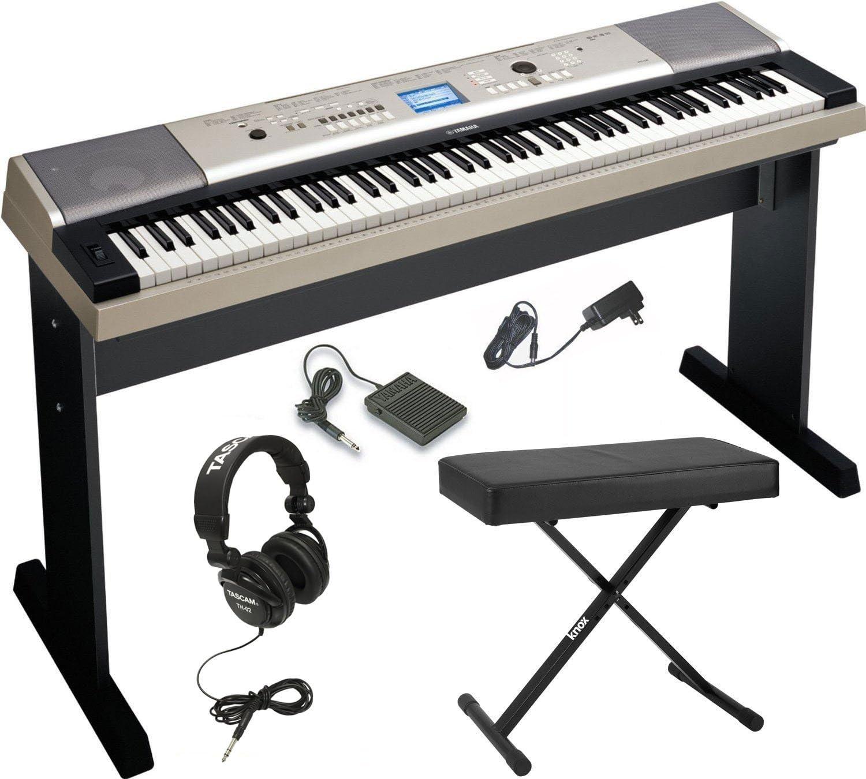 Yamaha YPG-535 piano digital de 88 teclas con Knox banco de estilo X ajustable y audífonos de estudio de tamaño completo