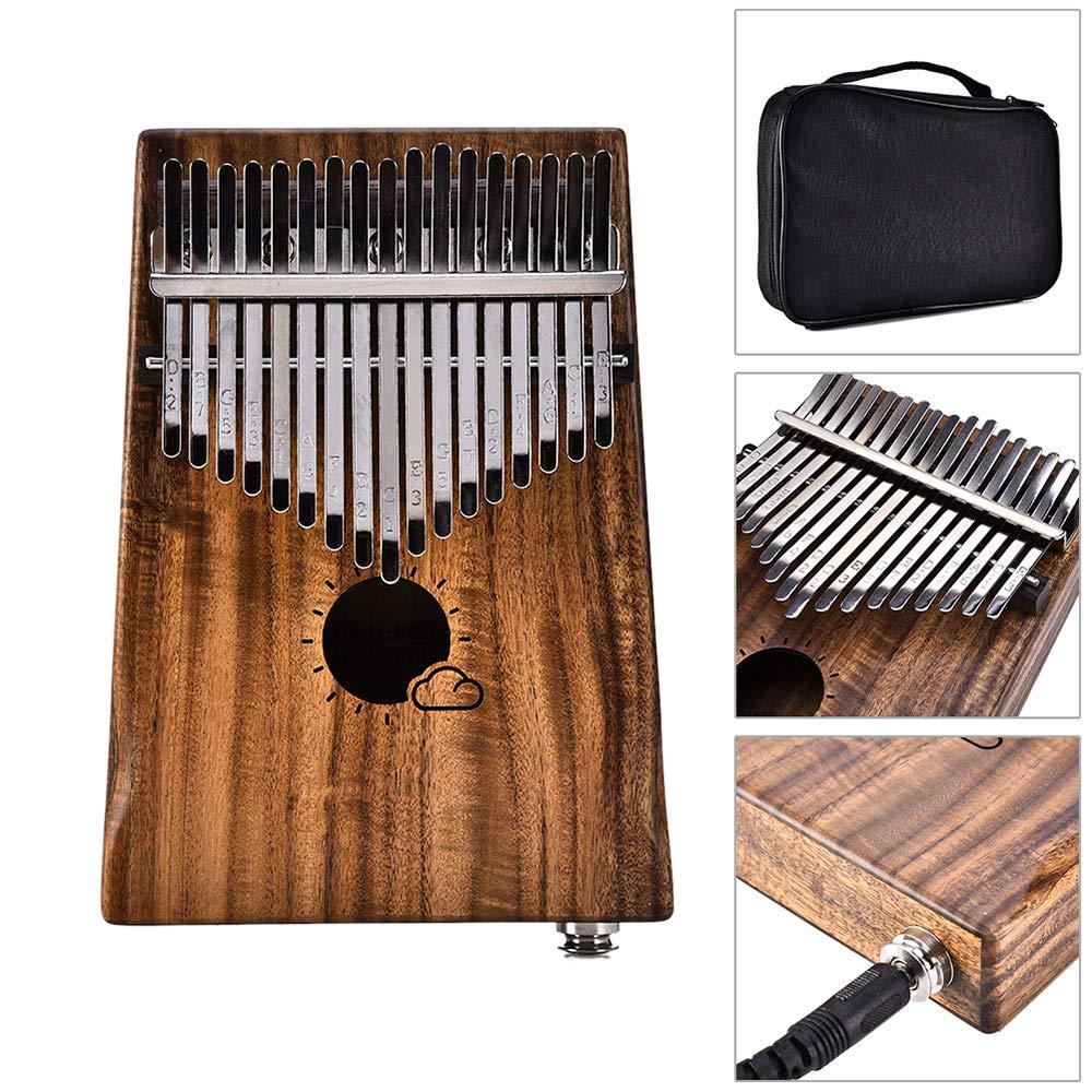 Kalimba,Thumb Piano,Mbira,17 Keys EQ Solid Acacia Link Speaker Electric Pickup Muspor with Bag Cable Calimba Mbira Keyboard Instrument
