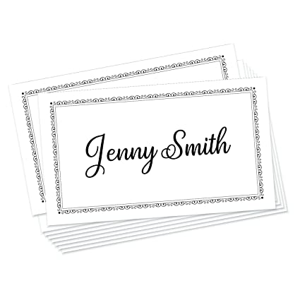 Jot Mark Place Cards 50 Count Formal Black White
