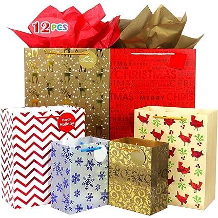 Fzopo Bolsa de regalo de Navidad, surtido, bolsas de papel ...