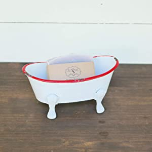 Foreside Home & Garden Red Distressed Rim White Enamel Bathtub Soap Dish