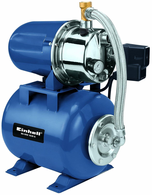 Einhell Hauswasserwerk BG-WW 1038 N (1000 W, 3800 l/h Fördermenge, 20 l Behälter, Edelstahlpumpengehäuse, Manometer)