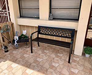 """Patio Garden Bench Park Bench Loveseats for Outdoor Yard Porch, Patio, Garden, Lawn, Balcony, Backyard and Indoor Work Entryway, Metal Material Easy to Assemble Best Loveseats - 45.5""""L x 21.7""""D x 30""""H"""
