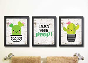 Silly Goose Gifts Enjoy Your Poop Cactus Wall Art Decor (Set of Three) Prints Kawaii Happy Pink Black Wood