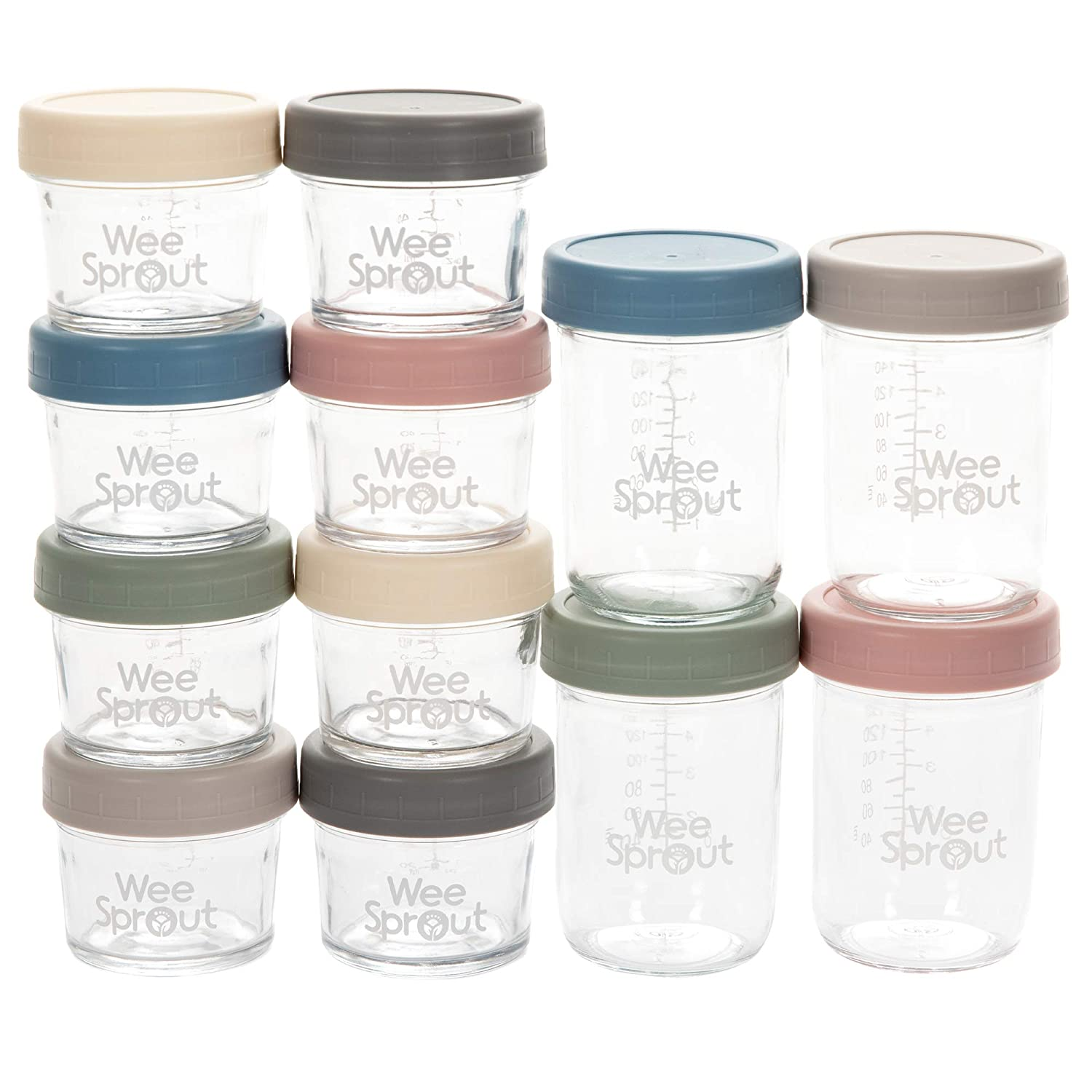 WeeSprout Glass Baby Food Storage Jars - 12 Set | 4 oz & 8 oz Baby Food Jars with Lids | Freezer Storage | Reusable Small Glass Baby Food Containers | Microwave/Dishwasher Friendly | for Babies