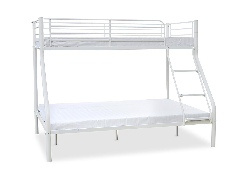 Humza Amani Palmdale Metal Triple Sleeper Bunk Bed - Single / Double, White HABBPALM