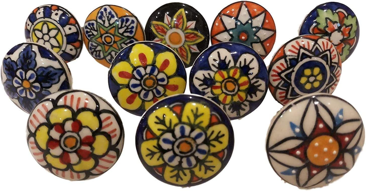 12 x Mix Vintage Look Flower Ceramic Knobs Door Handle Cabinet Drawer Cupboard Pull (12 Flat 004)