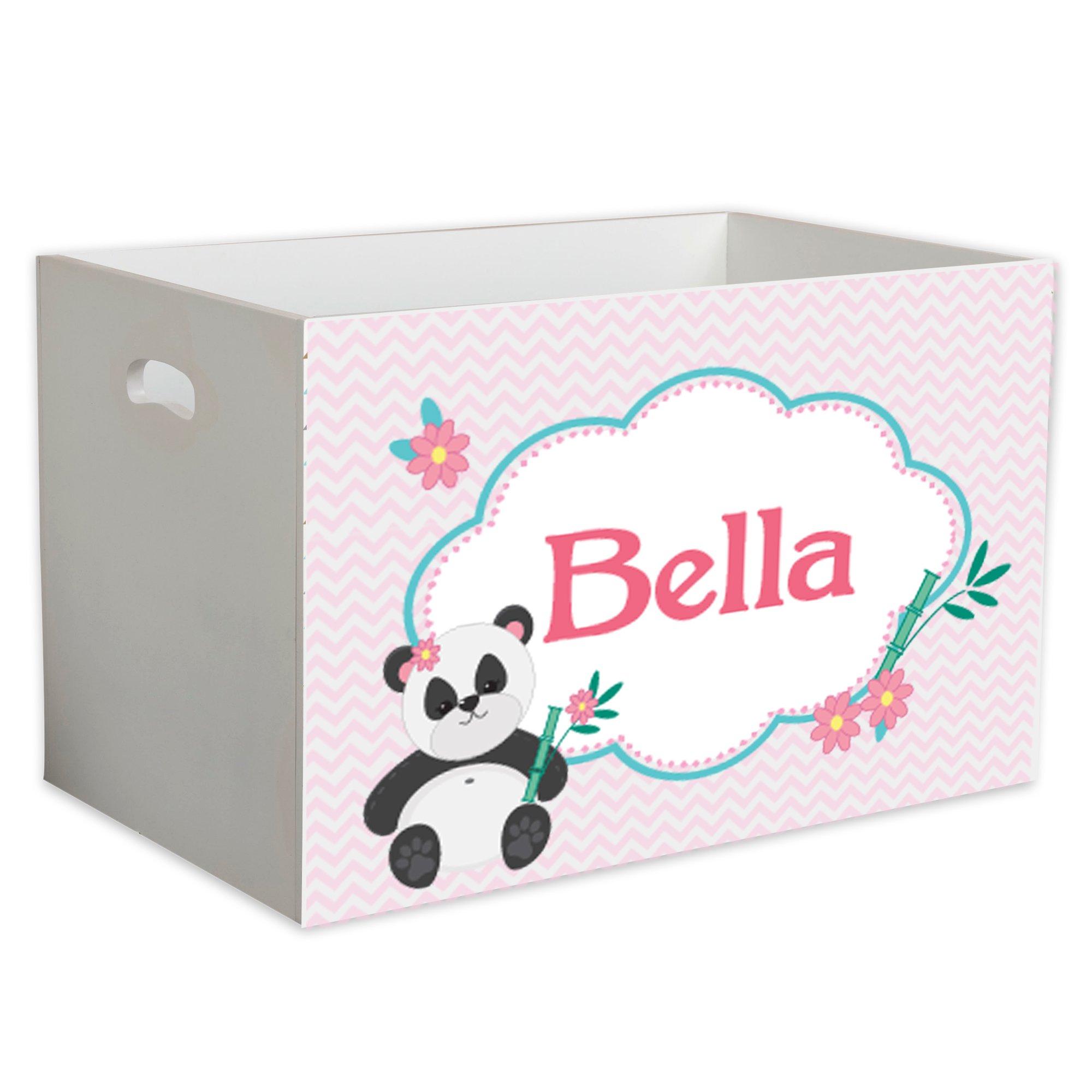 Personalized Chevron Panda Childrens Nursery White Open Toy Box