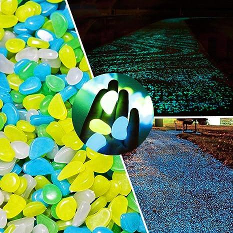 Resplandor en la oscuridad piedras Jardín, springsmart 4 Color Mezclado guijarros rocas decorativas para al