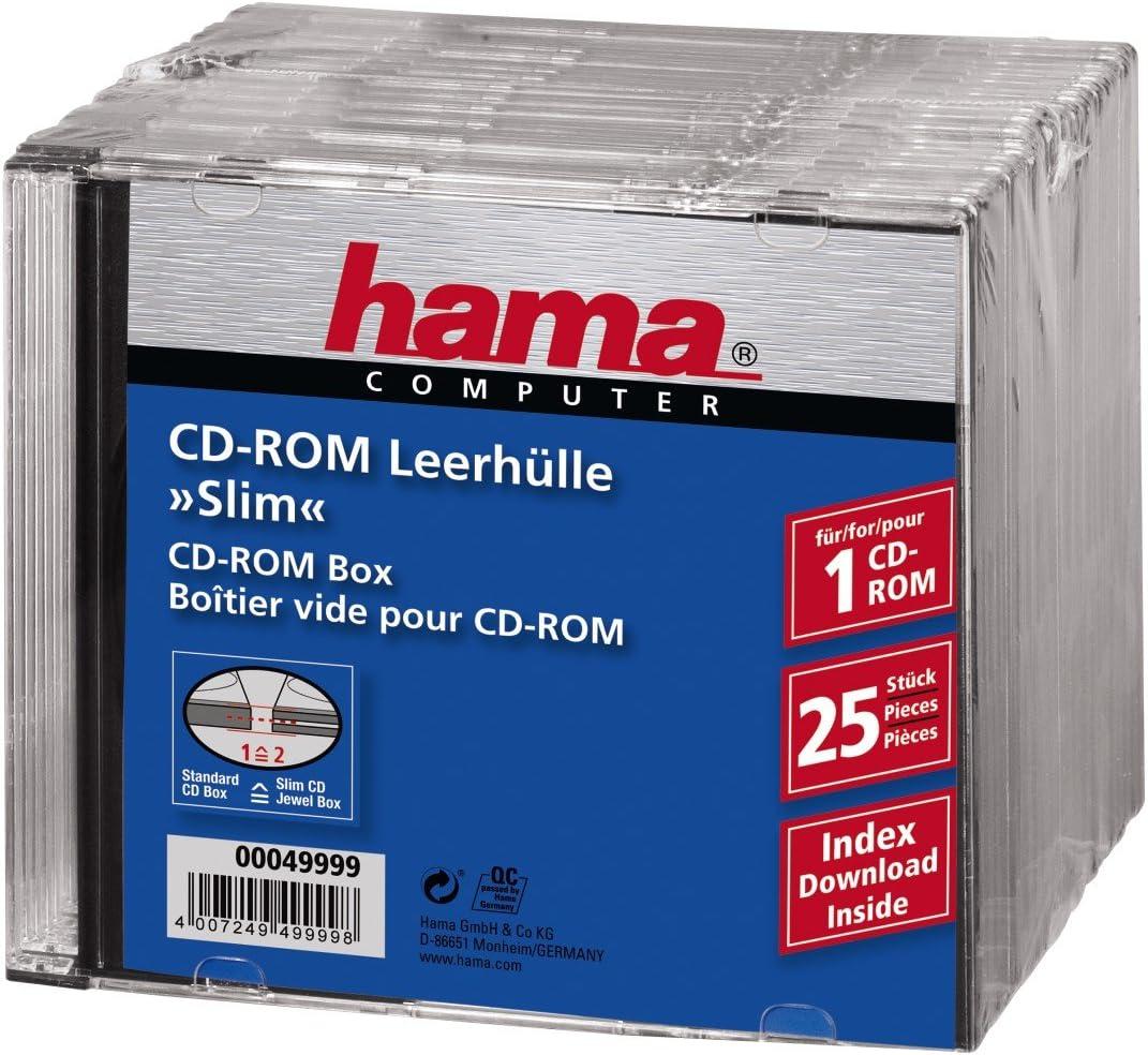 Hama Cd Rom Box Slim Schwarz 25er Pack Computer Zubehör