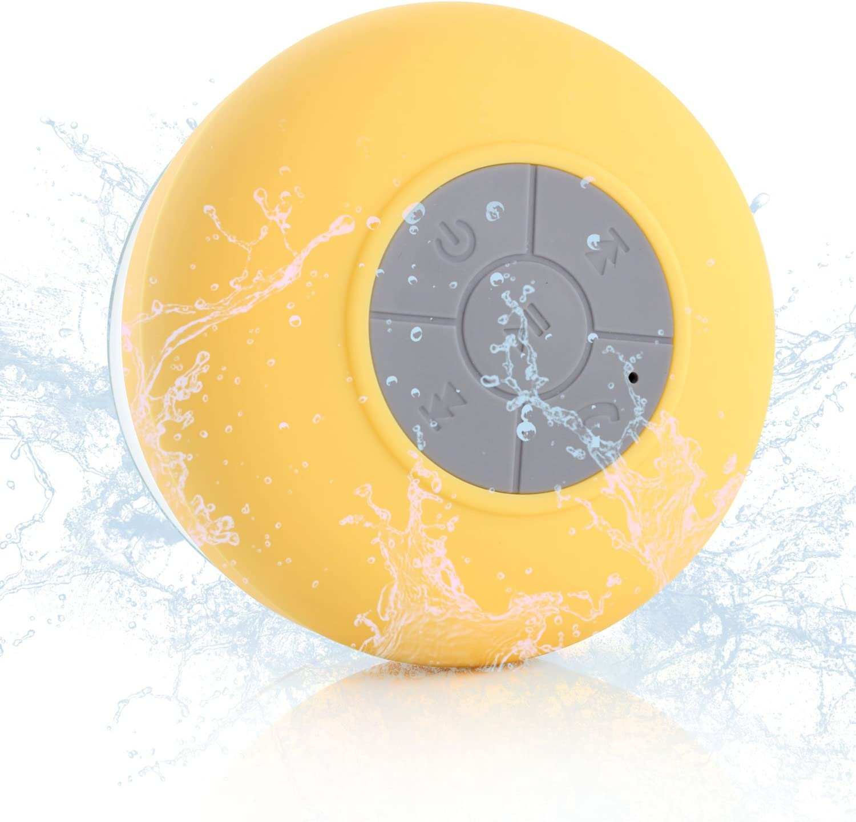 Neuftech Altavoz Bluetooth 3.0 Impermeable Sonido estéreo con Ventosa para Ducha Piscina etc(Amarillo)