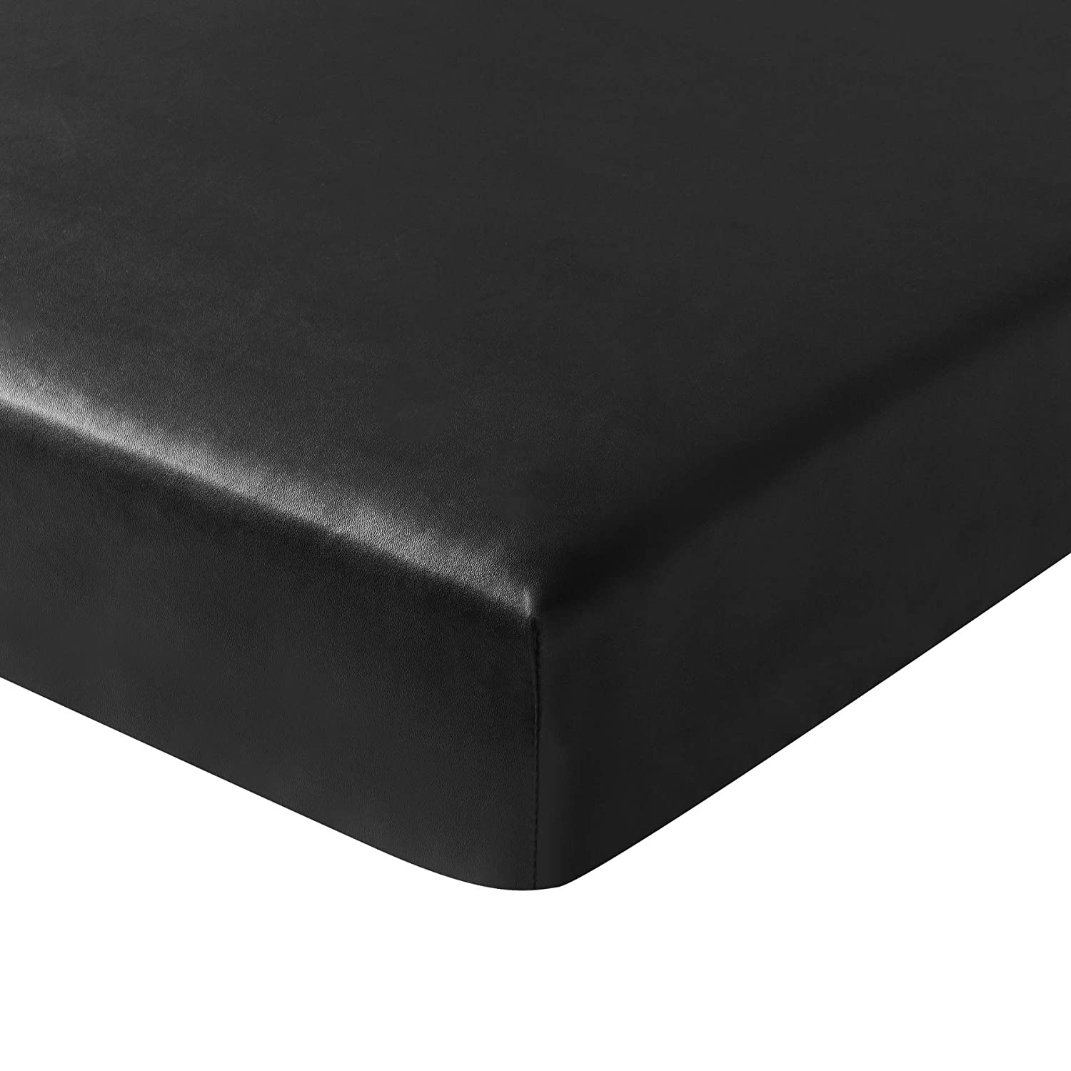 Subrtex Spandex Elastic PU Leather Couch Stretch Water-Proof Patio Durable Chair Slipcovers Furniture Protector Slip Cover for Settee Sofa Seat for Replacement in Home (Chair Cushion, Black Leather)