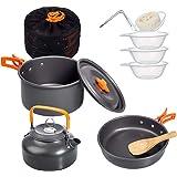 Deacroy Camping Cookware Kit, Portable Aluminum Pot Pan Kettle, Bowl Spoon Kit, Carry Bag, Lightweight Outdoor Cooking…