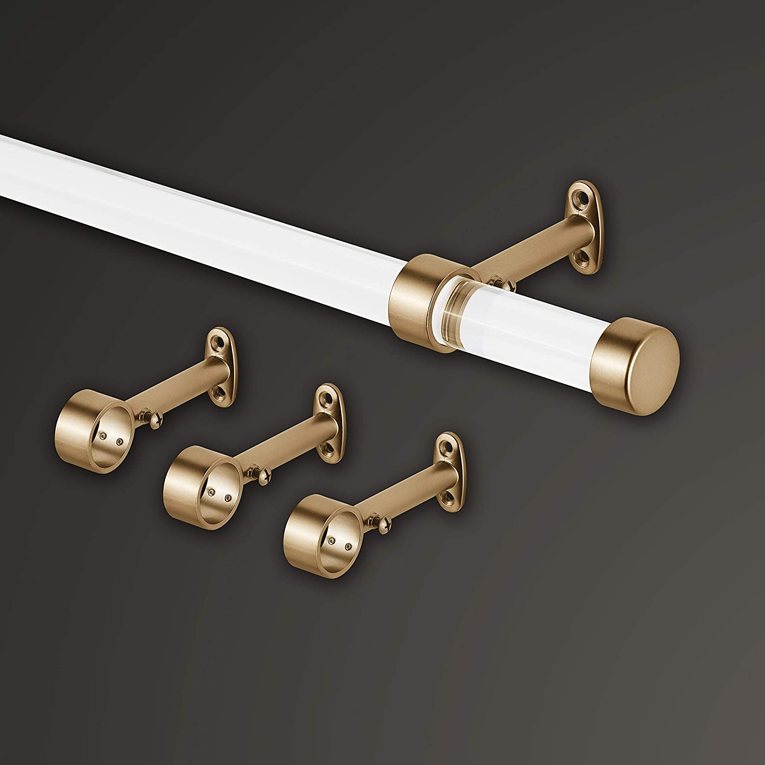 MODE Acrylic Collection Single Curtain Rod Set with Metal Endcaps Gold 6 ft Wide