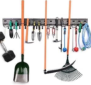 Garage Organizer Wall Mount Tool Adjustable Storage System, Garden Tool Organizer, Yard Tools Rack, Heavy Duty All Metal Garage Tool Hanger for Mop, Shovel, Rake, Broom with 3 Rails and 15 Hooks
