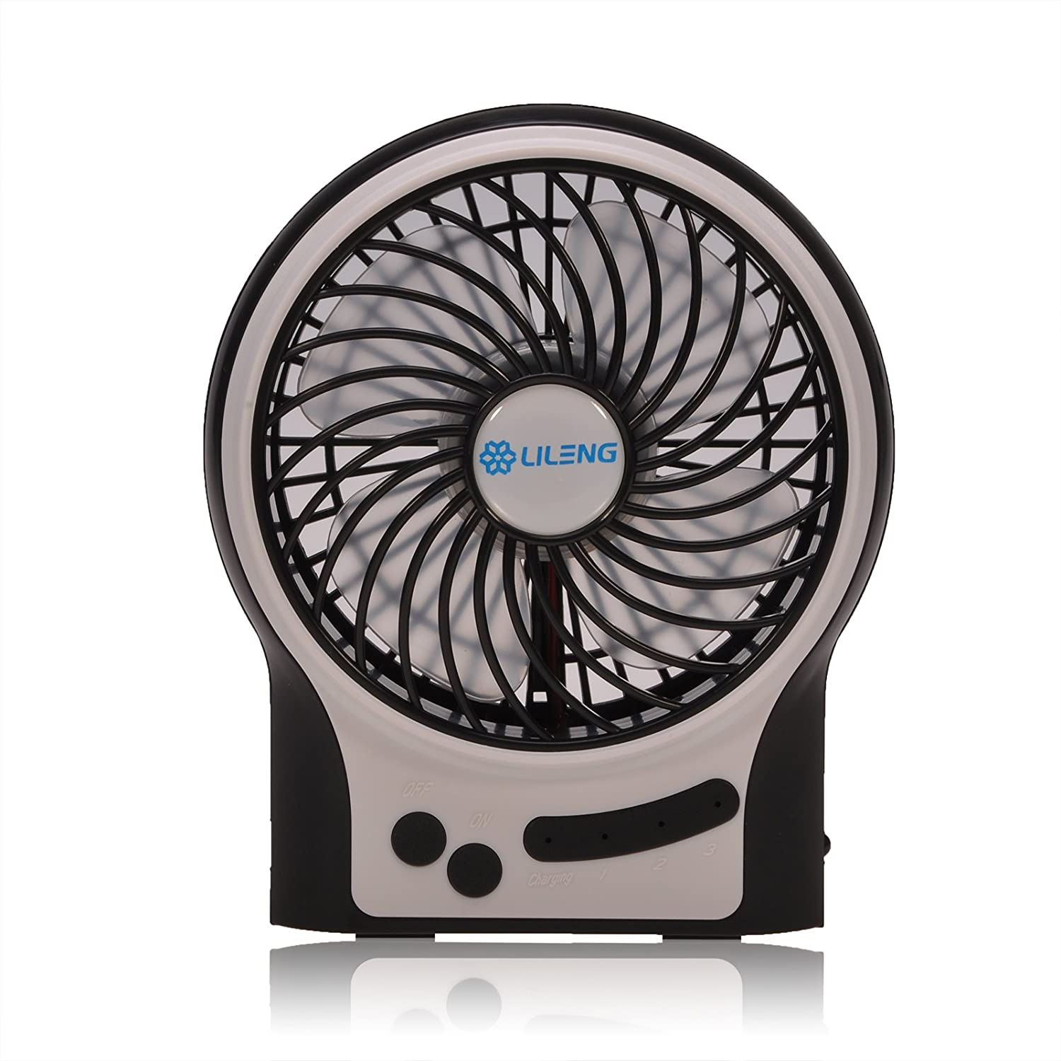 GIZGA Mini Portable USB Rechargeable 3 Speeds Personal Fan with LED Light, Built in 2200mAh 18650 Lithium-ion Battery for Home Office Outdoor Use – Black