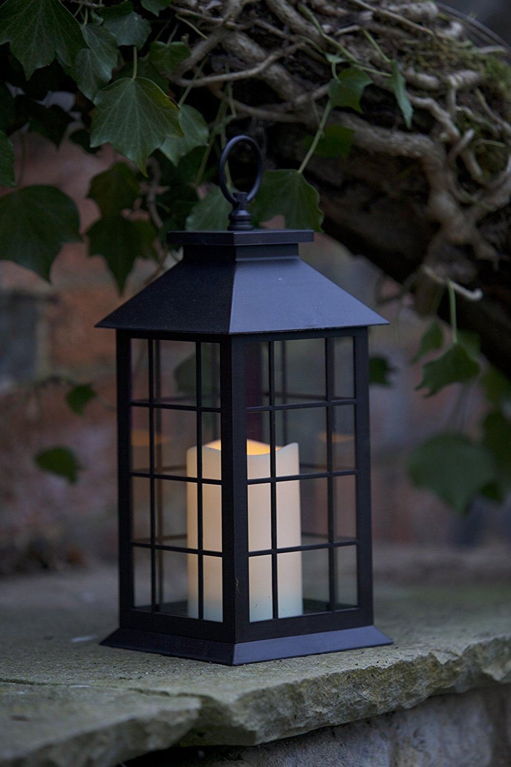 CrazyGadget Battery Operated Window Lantern with Timer LED Candle Indoor Outdoor Flickering Amber Home Garden Door Traditional Light Lamp
