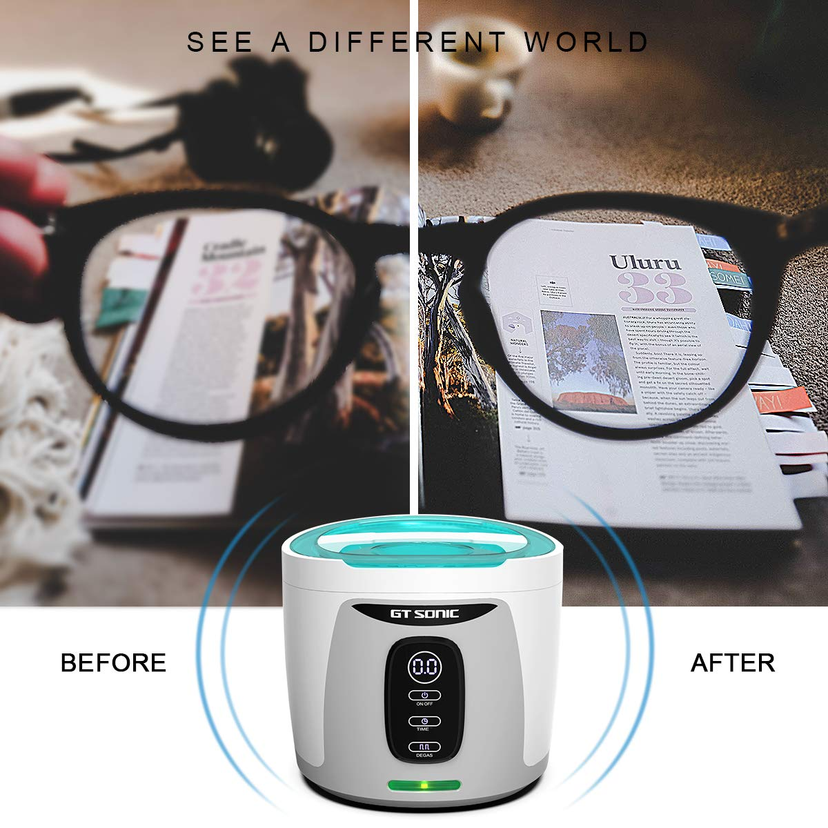 GTSONIC Ultrasonic Cleaner Jewelry Glasses Dentures Professional Detachable Cleaning Machine, 4 Timer Cycles Auto-Off, 26 OZ, 35 W by GTSONIC (Image #6)