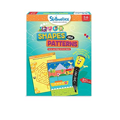 Skillmatics Educational Game: Shapes and Patterns (3-6 Years) | Erasable and Reusable Activity Mats | Travel Friendly Toy with Dry Erase Marker | Learning Tools for Boys and Girls 3, 4, 5, 6 Years: Toys & Games