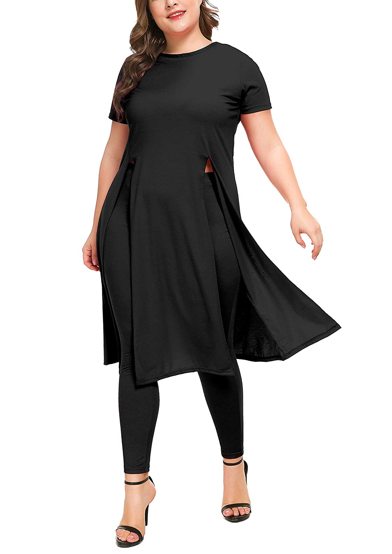 942d1aa9fe6f Women's 2 PCs Set Dress with Matching Legging, Short Sleeve Split Hem Shirt Tunic  Dresses Set Plus Size at Amazon Women's Clothing store:
