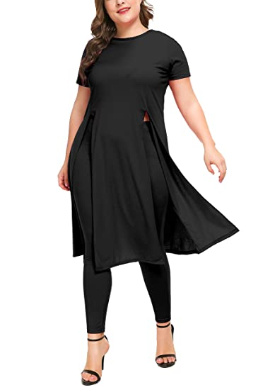 436acf39c881 Women's 2 PCs Set Dress with Matching Legging,Short Sleeve Split Hem Shirt  Tunic Dresses