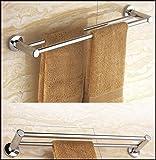 Double Towel Rod Stainless Steel Bathroom Towel Bar Rack Wall Mounted Shelf Rack Hanging Towel Rack 57cm Silver (double rod)