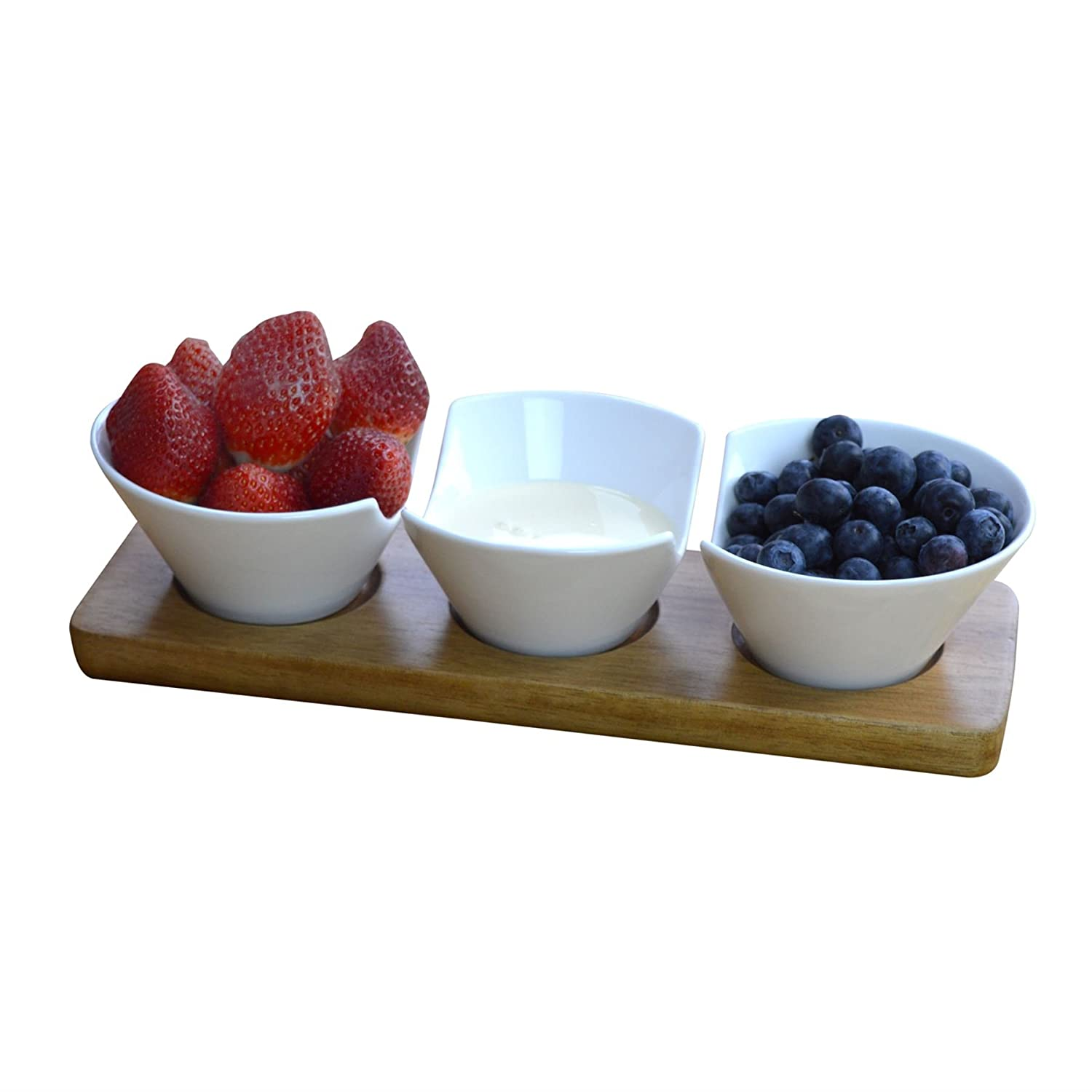Argon Tableware Set Of 3 Dipping Snack/Tapas Serving Bowls On Wooden Serving Board