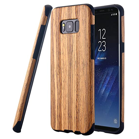 buy popular 84635 45dc5 Galaxy S8 Case, LONTECT [Slim Matte] [Shock Absorbing] Flex TPU Non Slip  Wood Tactile Extra Grip Rubber Bumper Case Cover for Samsung Galaxy S8 - ...