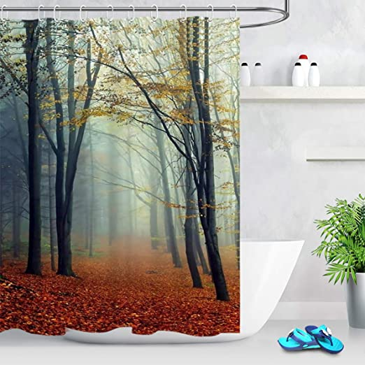 Autumn Trees and Leaves in sun rays Shower Curtain Bathroom Fabric /& 12hooks